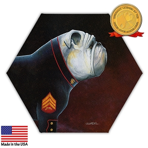 USMC Mascot Portrait Hexagonal Canvas